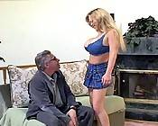 Blonde fuckwhore massaging her big jugs while gorgeous hunk rams her cunt hard