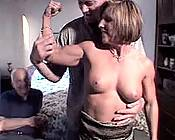 Buffed up busty bitch getting a great mouth-fuck from younger stud.